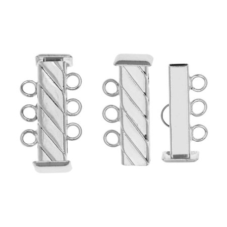 Slide Tube Clasps 3-Strand Fluted Rectangle 21mm Long, 2 Sets, Silver (Rectangle Clasp)