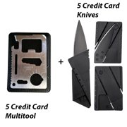 Five Credit Card Folding Safety Knife, Five 11 in 1 Credit Card Sized Survival Multi Tool Kit With Case - Multifunction Stainless Steel Emergency Pocket Tools for Camp, Sports, Hunting, Etc..