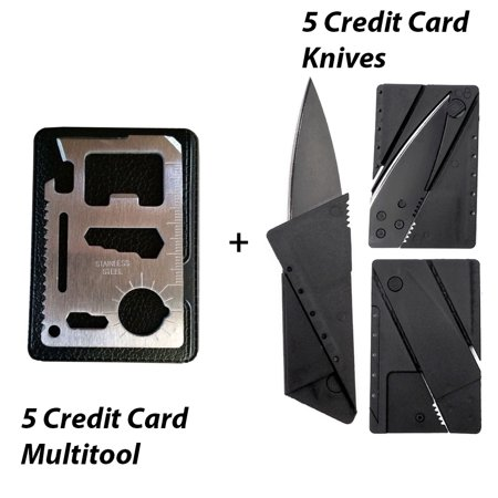 Five Credit Card Folding Safety Knife, Five 11 in 1 Credit Card Sized Survival Multi Tool Kit With Case - Multifunction Stainless Steel Emergency Pocket Tools for Camp, Sports, Hunting,