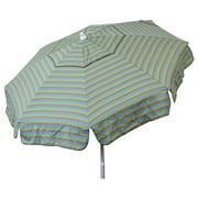 DestinationGear Euro 6' Umbrella Tri Color Stripe Sea Blue/Taupe/Olive Patio Pole