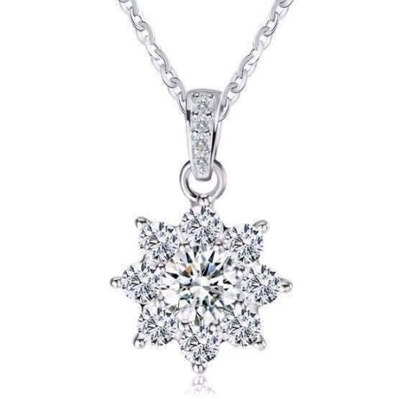 Sterling Blossom - ON SALE - Blossom Cubic Zirconia Flower Pendant Sterling Silver Necklace Clear