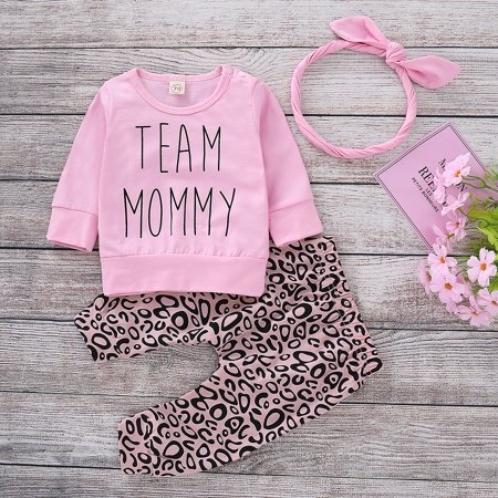 a0a2dae91 3PCS Newborn Infant Kids Baby Girl Leopard print Clothes Tops T ...