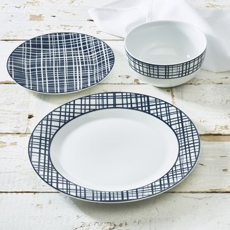 * Clearance * Blue Crisscross Collection 12-Piece Porcelain Dinnerware Set, Walmart Exclusive ()
