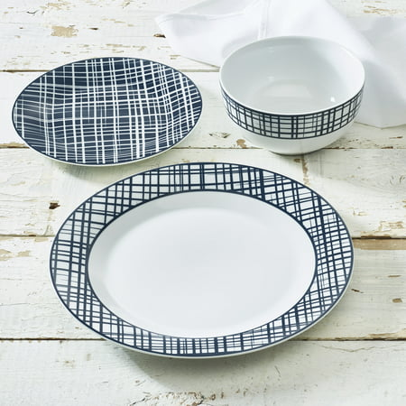 Blue Crisscross Collection 12-Piece Porcelain Dinnerware Set, Walmart