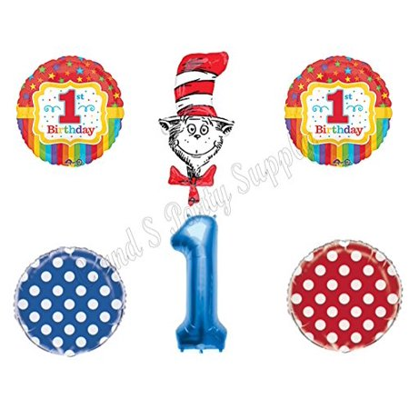 1st DR. SEUSS Cat In The Hat Birthday Party Balloons Decoration Supplies First - Dr Seuss Party Decorations