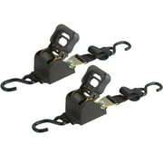 6' Retractable Ratcheting Tie-Down Strap with S-Hook Ends (Package of 2)