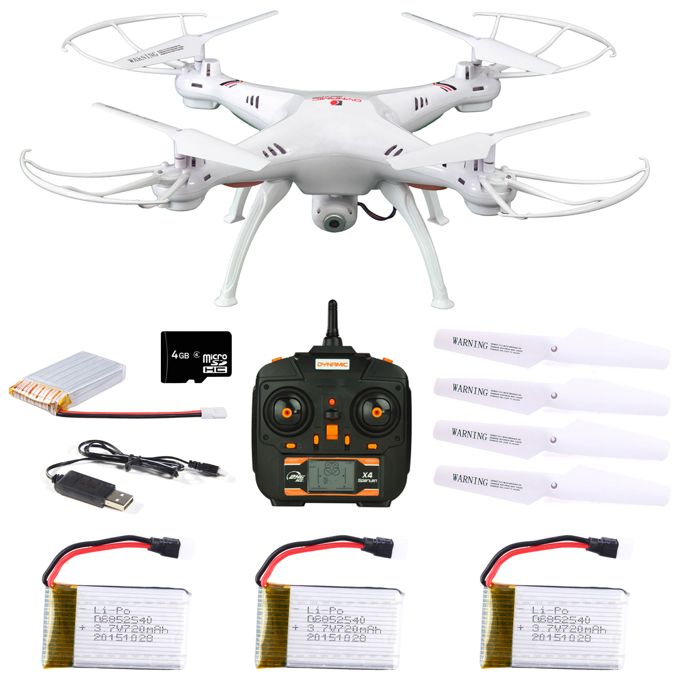 Dynamic Aerial Systems X4 Spartan 2.4GHz 4CH 6-Axis Gyro RC Quadcopter Drone with 2MP... by Dynamic Aerial Systems