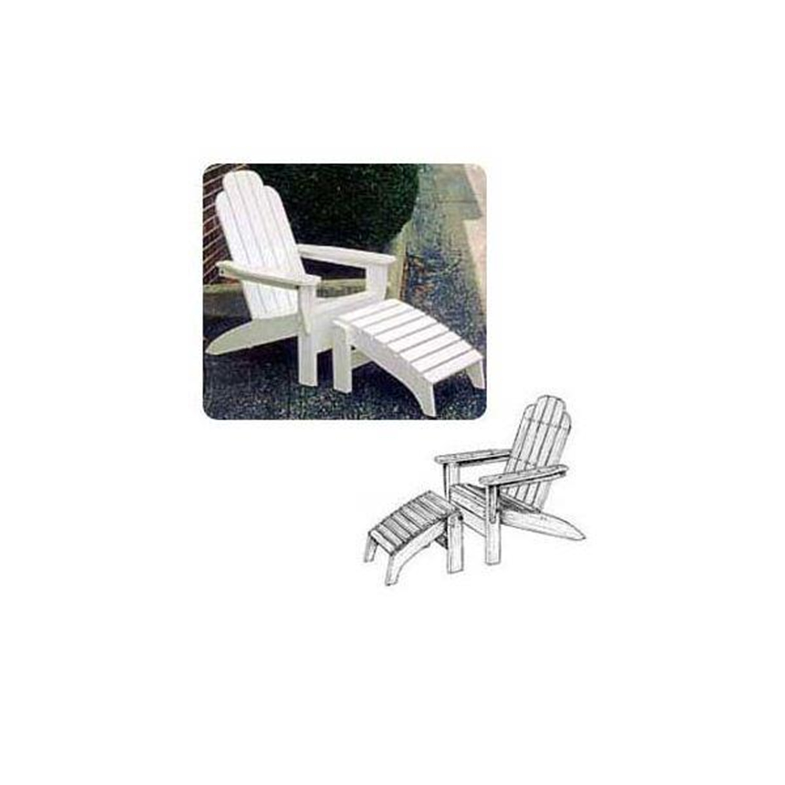 Woodworking Paper Plan to Build Adirondack Folding Chair and Footrest by