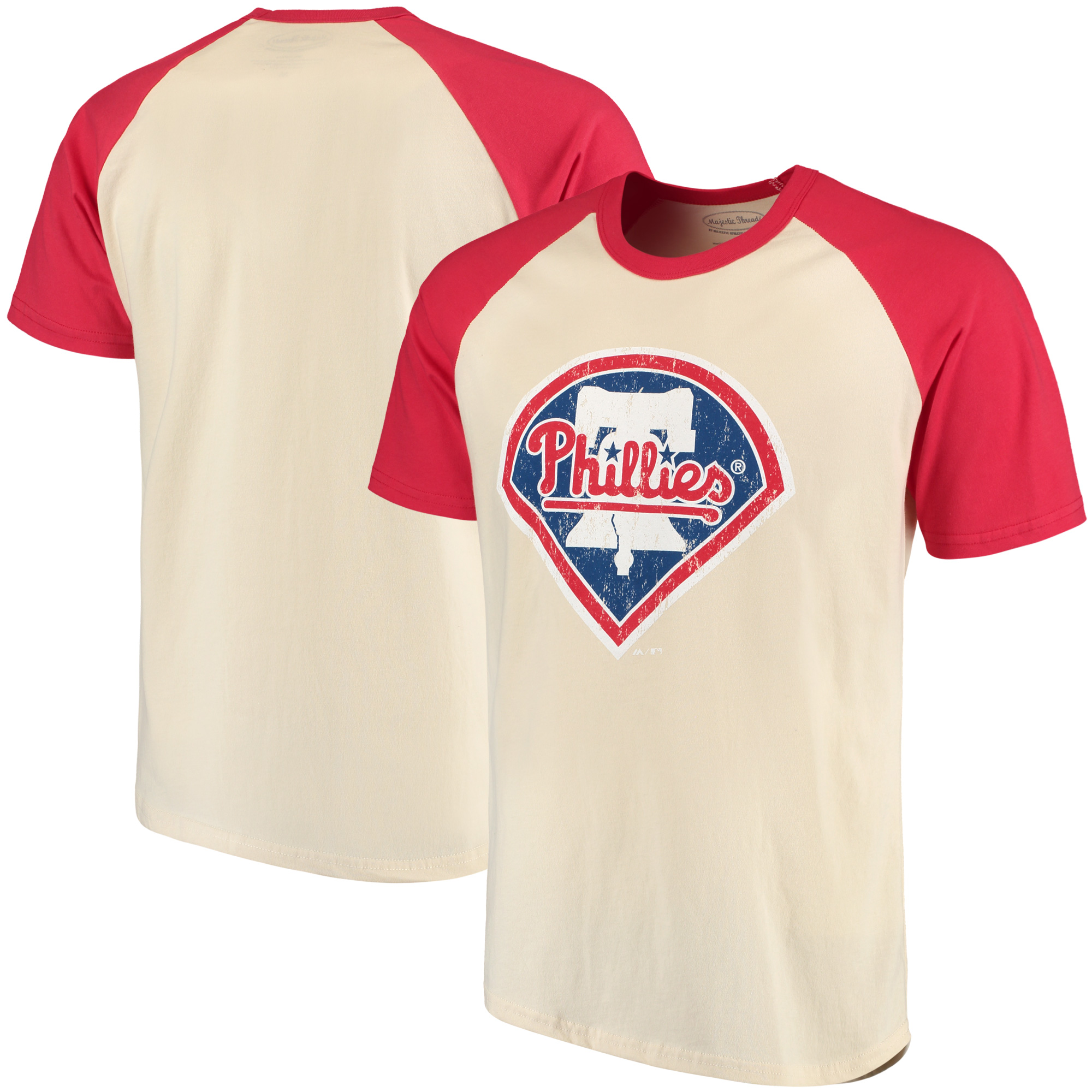 Philadelphia Phillies Majestic Threads Softhand Raglan T-Shirt - Cream/Red