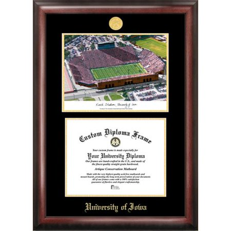 Iowa Hawkeyes Kinnick Stadium 8.5x 11 Gold Embossed Diploma Frame with Campus Images Lithograph