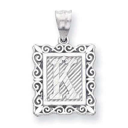 925 Sterling Silver Initial Monogram Name Letter K Pendant Charm Necklace Gifts For Women For Her