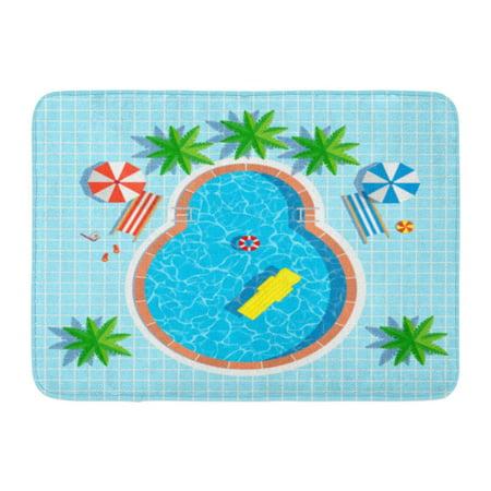 GODPOK Summer Blue Beach Swimming Pool Top View with Umbrellas Palm Trees Loungers Air Mattress Above Water Rug Doormat Bath Mat 23.6x15.7 inch ()