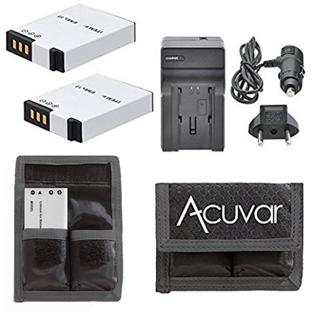 2 EN-EL12 Replacement Batteries + Car / Home Charger + Acuvar Battery Pouch for Nikon Coolpix S6200, S6300, S8000, S8100, S8200, S9300, S9100, S9400, S9500 and Other Models