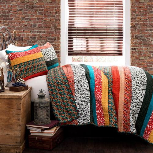 Boho Stripe 3-Piece Quilt Set, Turquoise/Tangerine