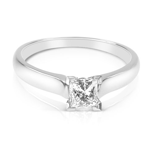 0.45CT Princess Cut Diamond Solitaire Ring by PrimeStyle