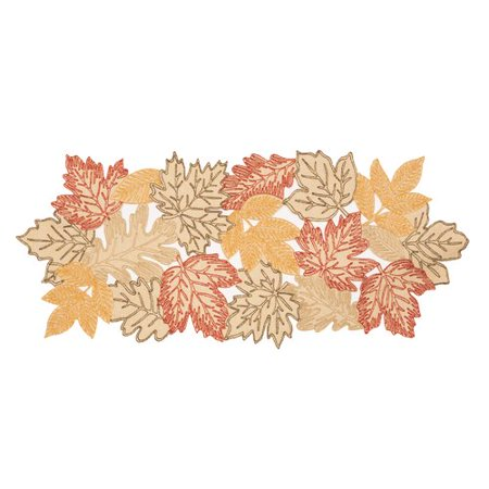 August Grove Pagan Autumn Leaves Embroidered Cutwork Table - Autumn Leaves Table Runner