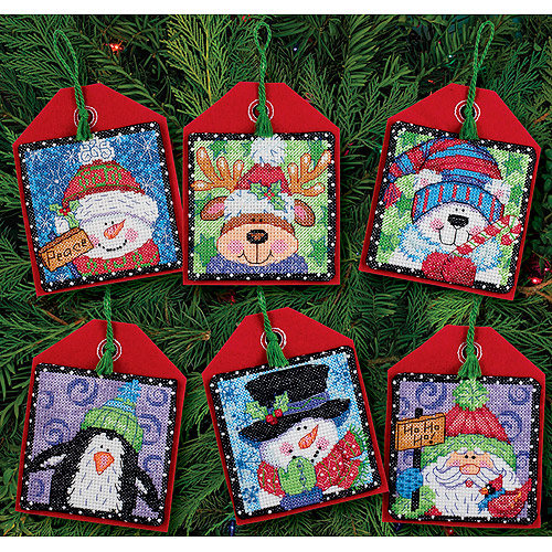 "Dimensions ""Christmas Pals"" Ornaments Counted Cross Stitch Kit, 4-1/2"" Tall, Set of 6"