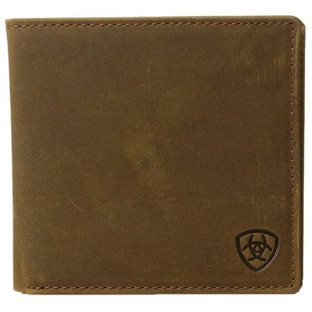 Ariat Unisex Large Bifold Shield Logo Wallet Medium Brown Distressed OS