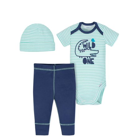 Gerber Onesies Bodysuit, Pants and Cap, 3pc Outfit Set (Baby