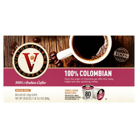 Victor Allens Coffee Medium Roast 100  Colombian Single Serve Brew Cups  0 35 Oz  80 Count