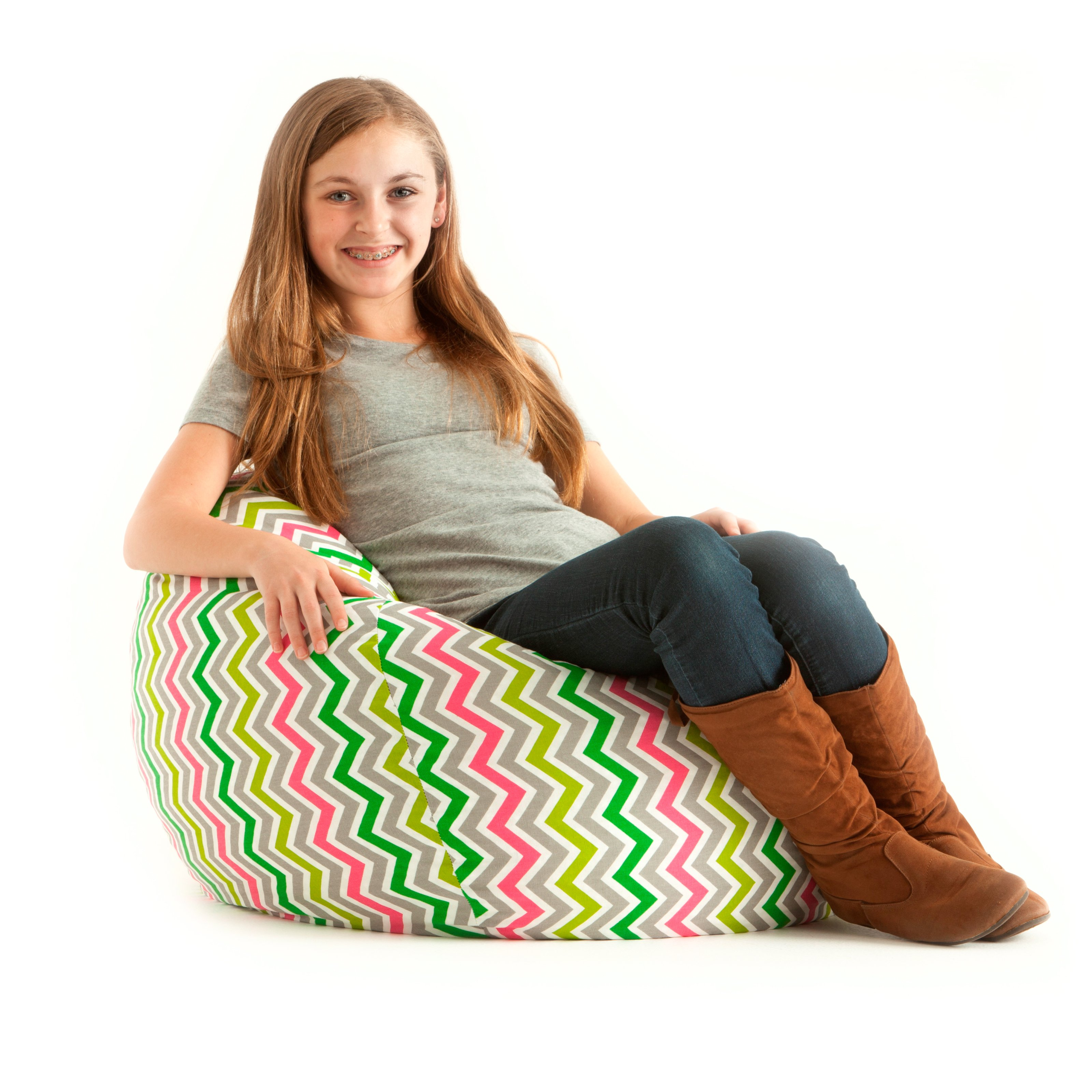Comfort Research Medium Twill Lounger Bean Bag Chair - Zoom Zoom Chartreuse / Pink