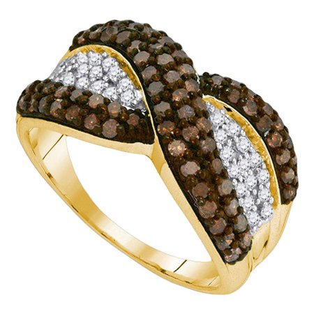 10kt Yellow Gold Womens Round Cognac-brown Color Enhanced Diamond Crossover Stripe Band Ring 1.00 Cttw