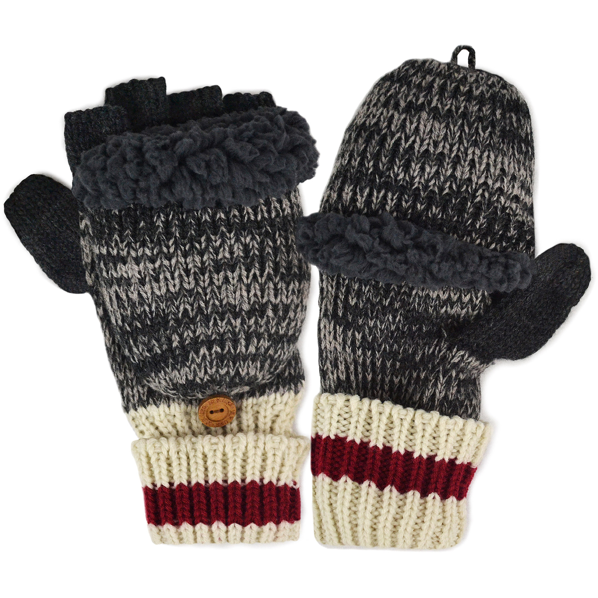 MUK LUKS Men's Marl Sock Stripe Flip Mittens