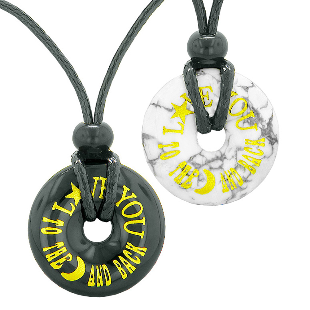 Love You to the Moon and Back Love Couples Best Friends Amulets White Howlite and Black Agate Necklaces
