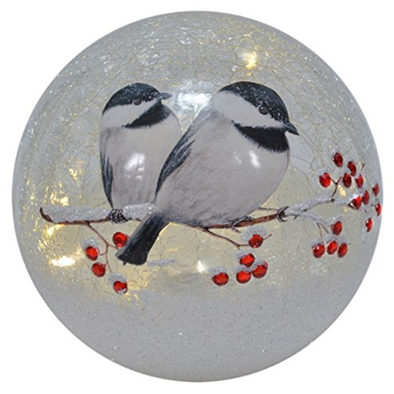 Red Co Battery Operated Lantern Chickadee 6 inch Lighted Crackle Glass Decorative Globe