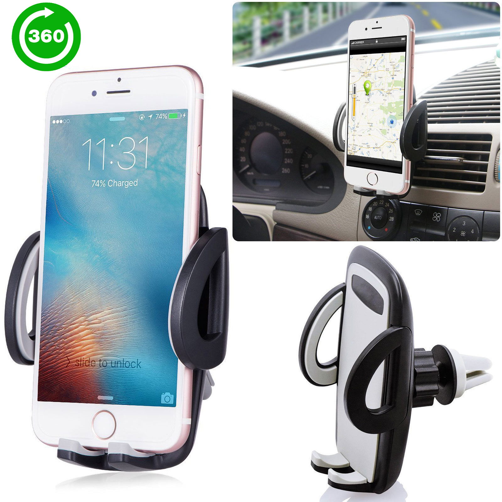 TSV Universal Smartphone Car Air Vent Mount Holder Cradle Compatible with iPhone X 8 8 Plus 7 7 Plus SE 6s 6 Plus 6 5s 5 4s 4 Samsung Galaxy S6 S5 S4 LG Nexus Sony Nokia and More