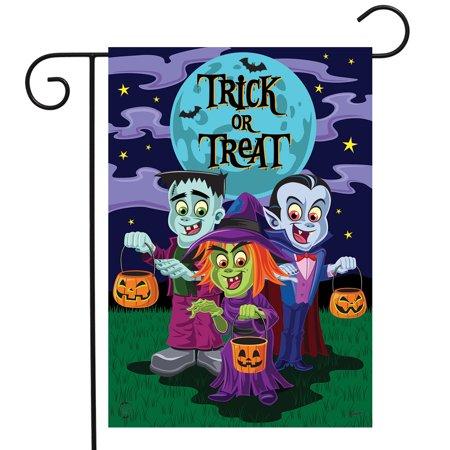 Trick or Treaters Halloween Garden Flag Frankenstein Dracula 12.5