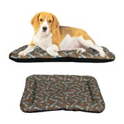 "Dog Crate Pad Bolster Bed Pet Mat Waterproof, 30"" x 21"" Medium Brown and Blue Bone"