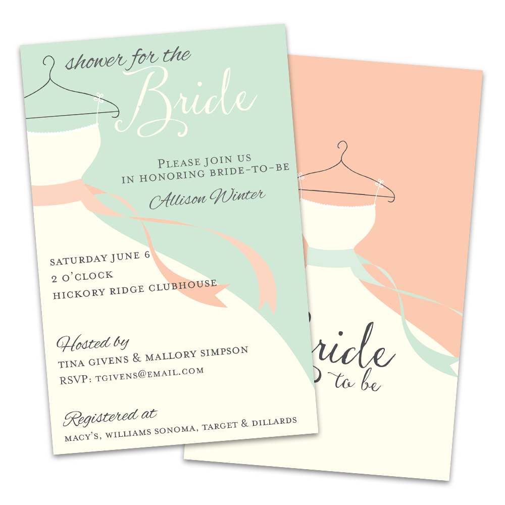 Personalized Classic Dress Bridal Shower Invitation