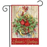 "Seasons Greetings Cardinals Garden Flag Christmas Greenery 12.5"" x 18"""