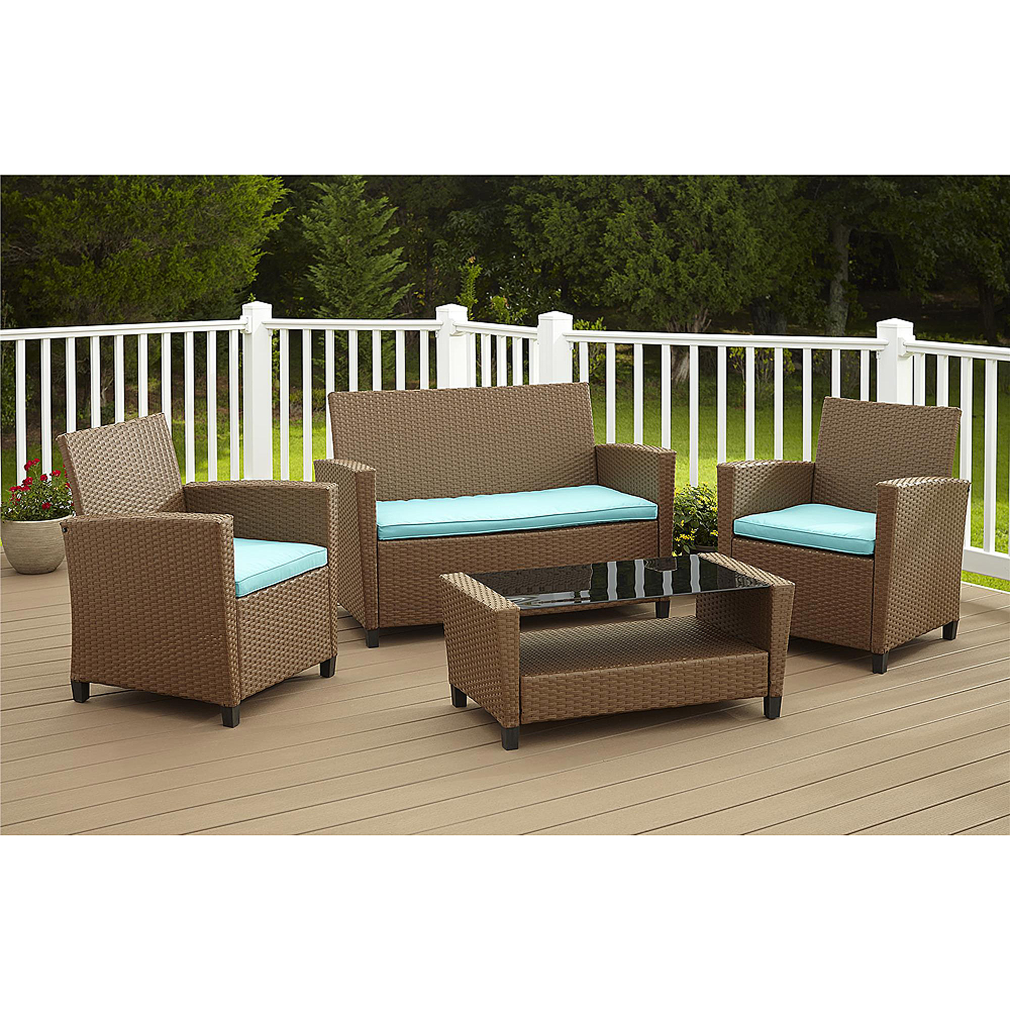 Nice Cosco Outdoor Malmo 4 Piece Resin Wicker Patio Conversation Set