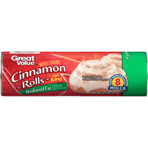 Great Value Reduced Fat Cinnamon Rolls with Icing, 8 count, 12.4 oz