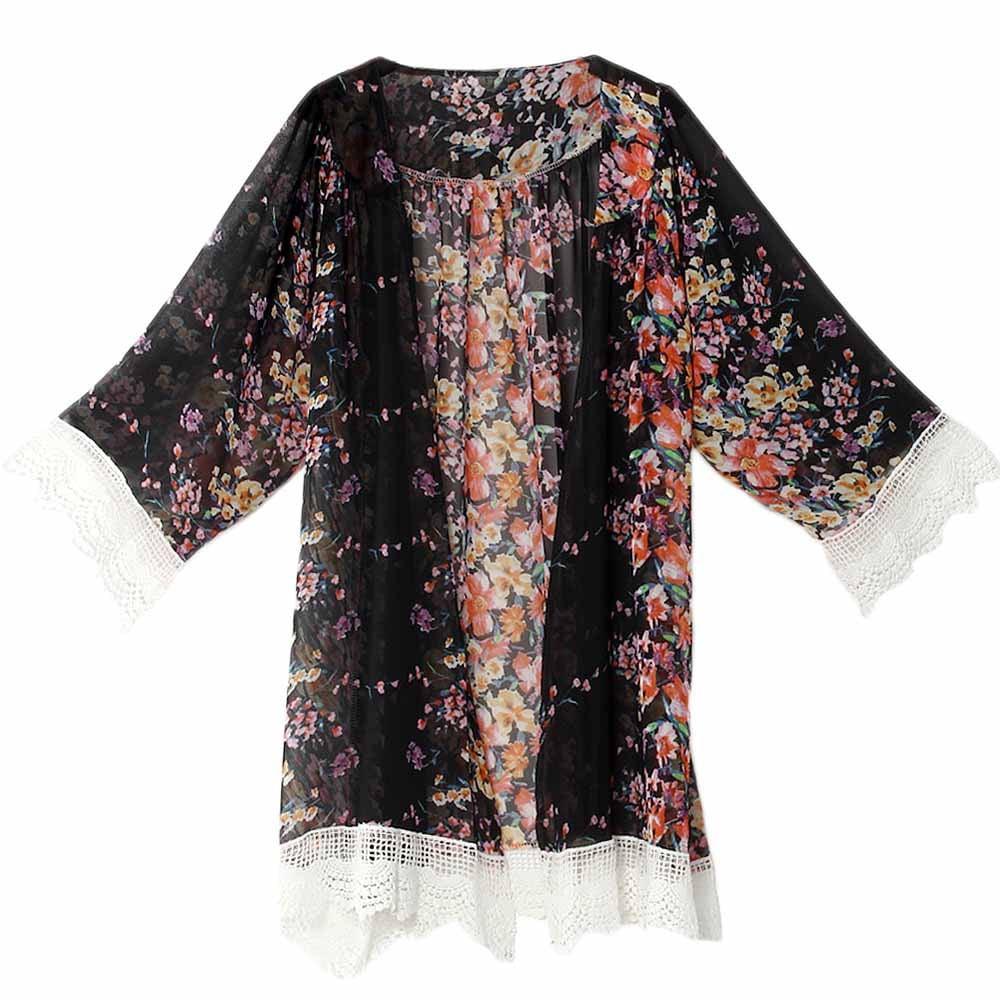 ZXZY Women Chiffon Kimono Coat Floral Printing Lace Cardigan Top ...