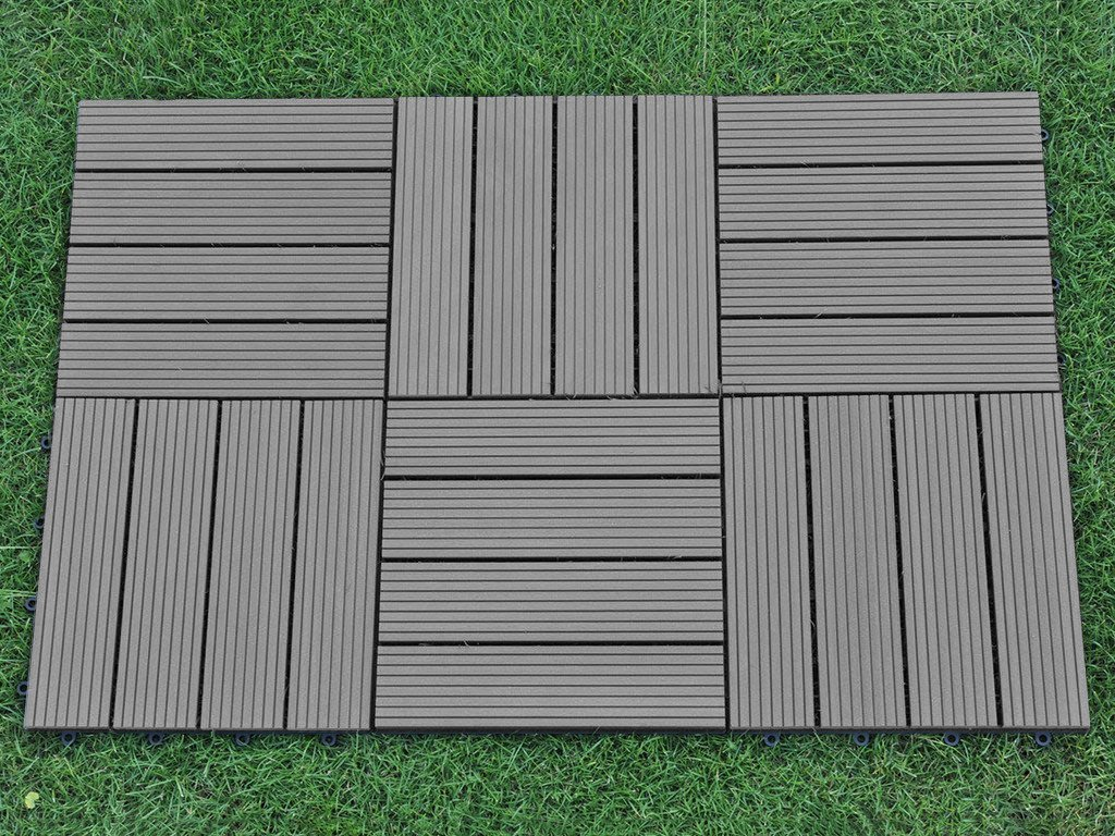 abba patio interlocking flooring decking tiles outdoor four slat wood plastic composite tile 12 x 12 inch 6 pieces one pack covers 6 sqft walmartcom - Patio Flooring