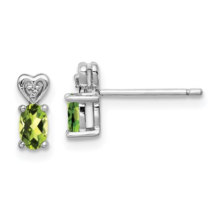 925 Sterling Silver Green Peridot Diamond Post Stud Earrings Set Drop Dangle Birthstone August Gifts For Women For Her (Green Diamond Stud Earrings)