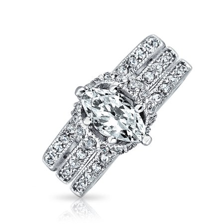 2CT Solitaire Marquise AAA CZ Pave Band Inset Guard Enhancers Anniversary Engagement Wedding Ring Set Sterling -
