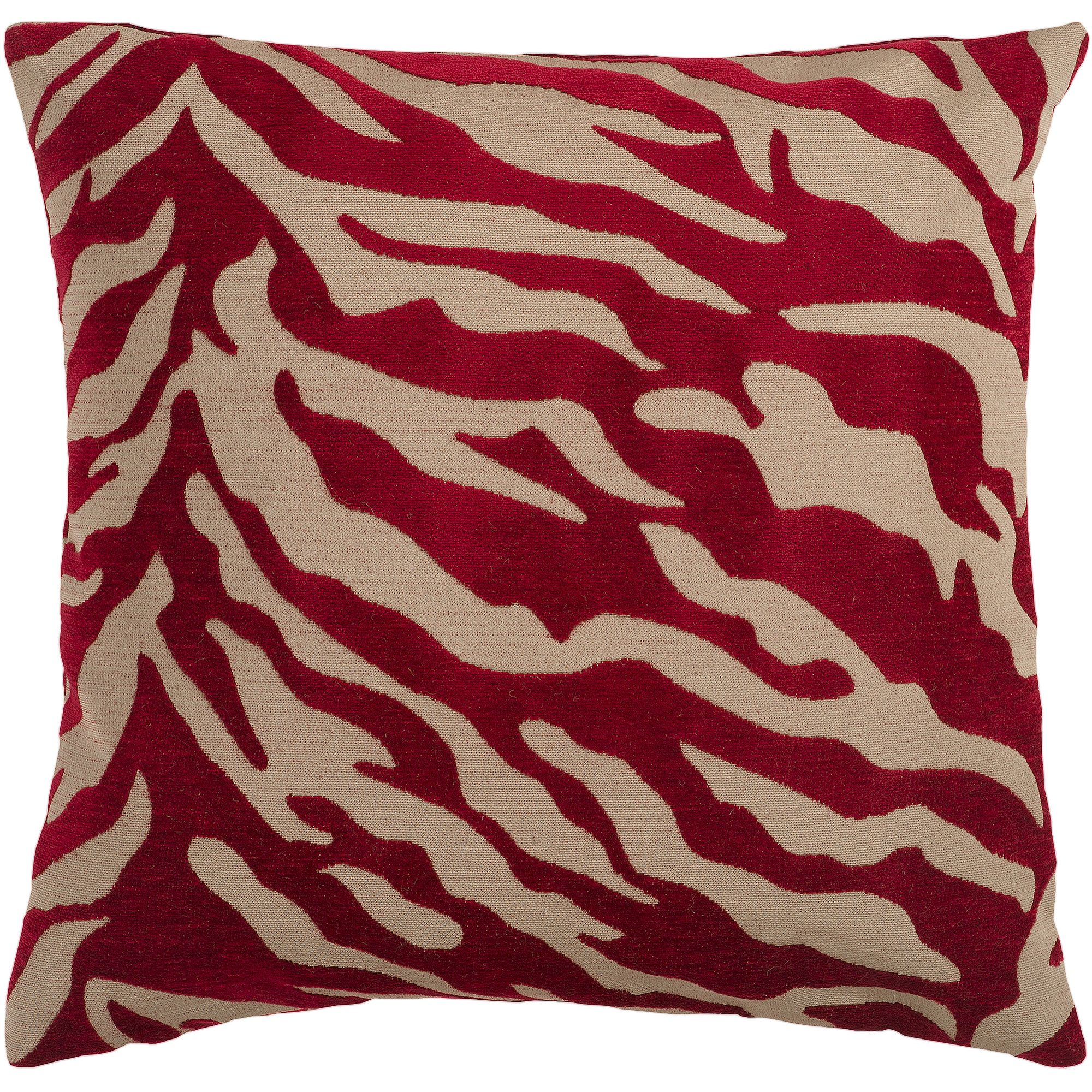 Art of Knot River Hand Crafted Zippy Zebra Decorative Pillow with Poly Filler, Burgundy