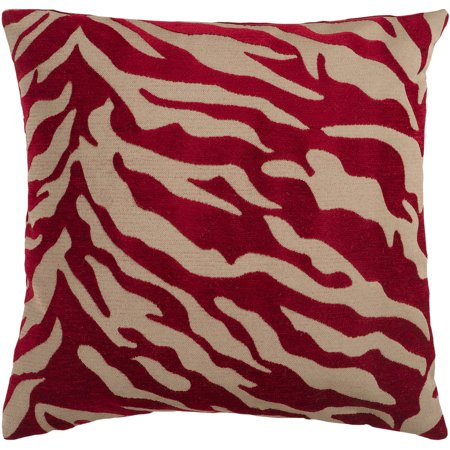 Funky Zebra Decorative Pillow (Art of Knot River Hand Crafted Zippy Zebra Decorative Pillow with Poly Filler, Burgundy )