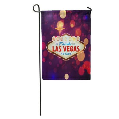 SIDONKU Night Welcome to Las Vegas Sign Bokeh America Billboard Casino Garden Flag Decorative Flag House Banner 12x18 inch ()
