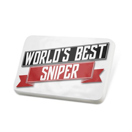 Porcelein Pin Worlds Best Sniper Lapel Badge –
