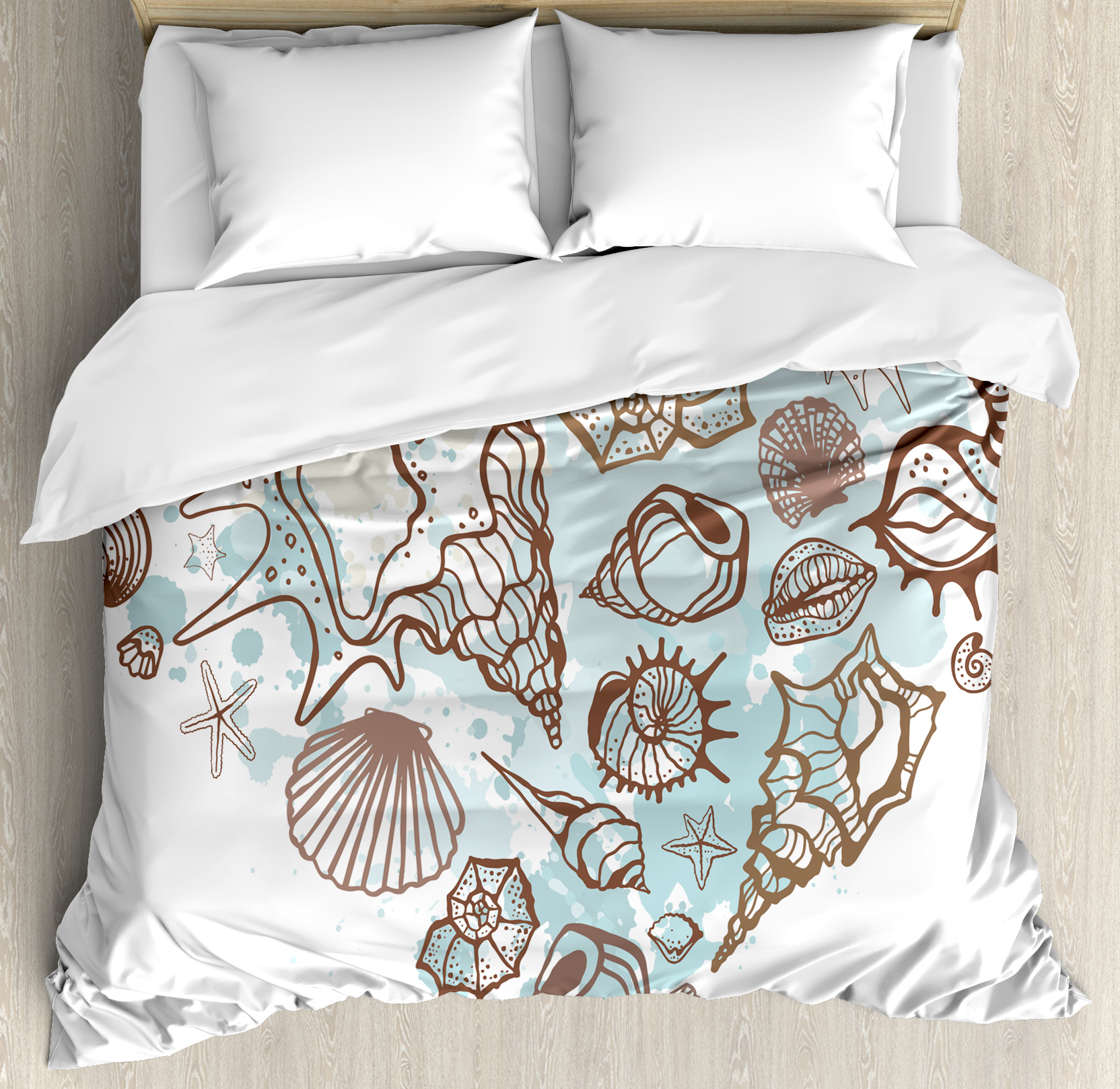 Nautical Queen Size Duvet Cover Set, Hand Drawn Seashells Scallop Starfish Whelk Ocean Underwater Life Theme, Decorative 3 Piece Bedding Set with 2 Pillow Shams, Brown Warm Taupe Teal, by Ambesonne