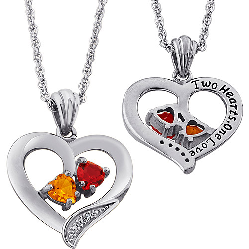 Personalized Couple's Diamond Accent Silver-Tone Birthstone Heart Pendant