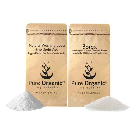 Laundry Booster Kit by Pure Organic Ingredients (2 lbs each) Borax & Natural Washing Soda, Eco-Friendly Packaging, Multi-Purpose Cleaners & Detergent - Italian Soda Ingredients