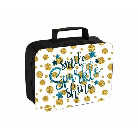 Smile Sparkle Shine Faux Glitter Print Jacks Outlet TM Travel Toiletry Bag with Hanger