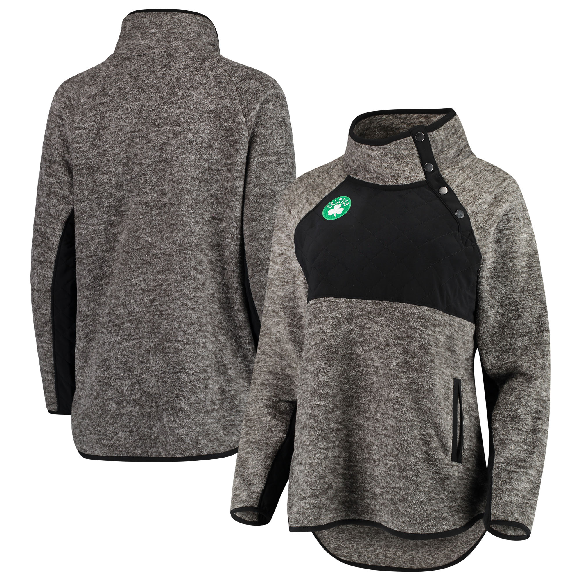 Boston Celtics Women's Sidenote Quilted Snap-Up Pullover Jacket - Black