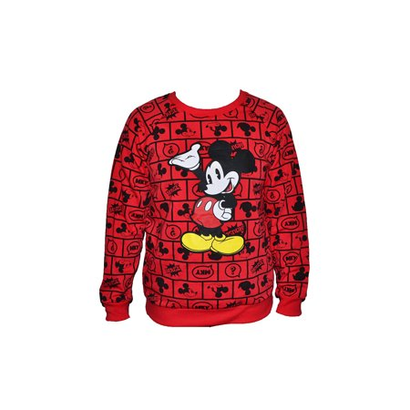Juniors Mickey Mouse All Over Print Pullover Sweater, Red (M) W69 - Mickey Mouse Sweater